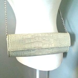 Faux Leather Croc Snake Clutch Barrel Shoulder Bag